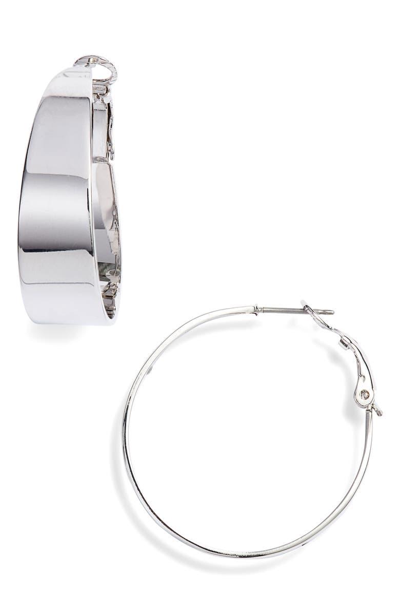 VINCE CAMUTO Medium Tapered Hoop Earrings, Main, color, 046