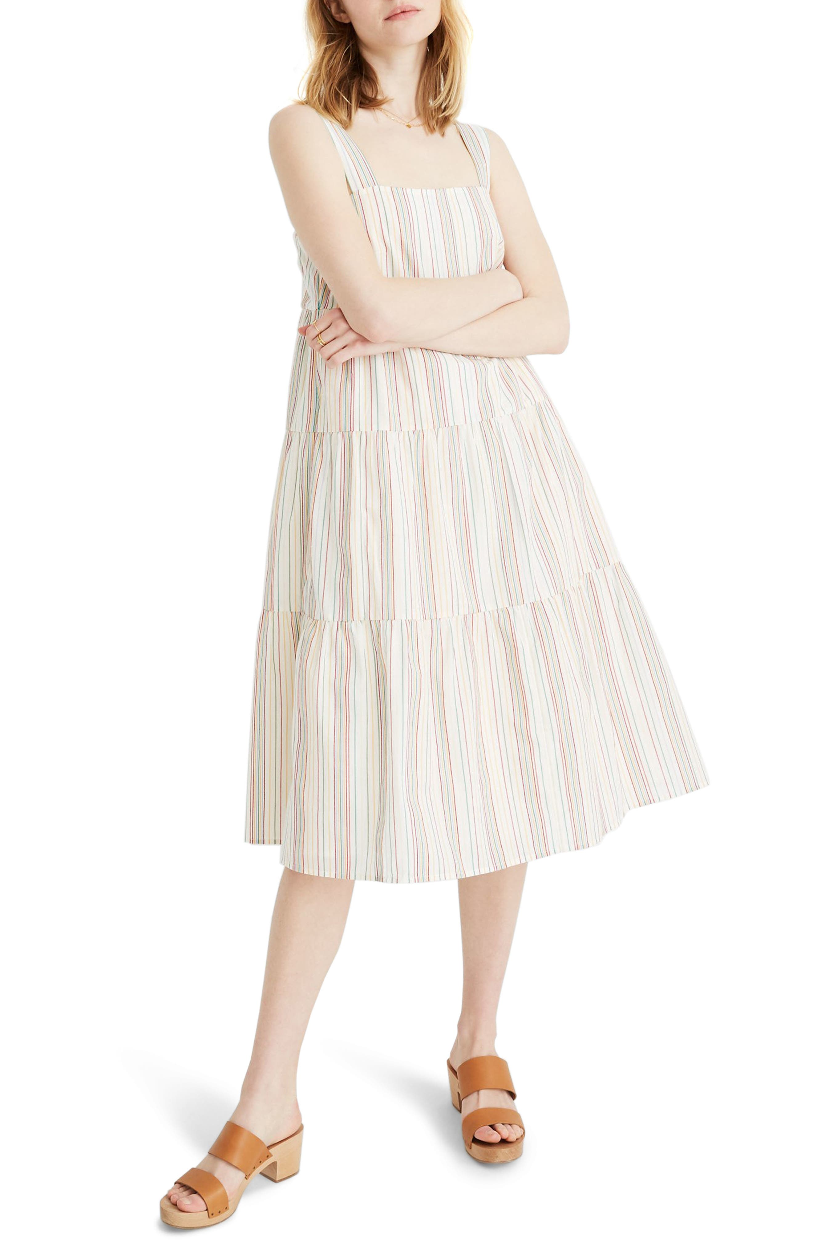 Madewell Button Back Tiered Dress, Ivory