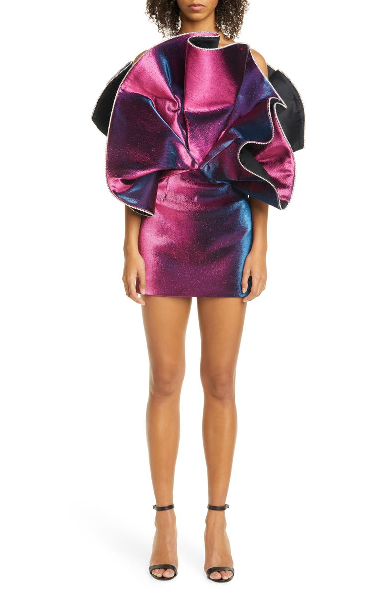 AREA Explosion Crystal Trim Stretch Lamé Minidress, Main, color, 500