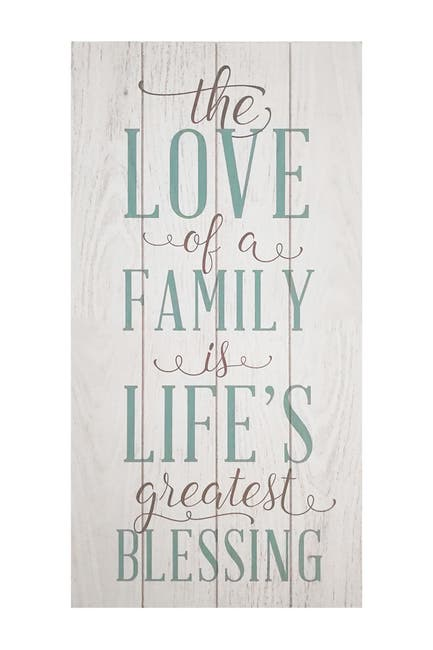 """Image of Stratton Home White """"The love of a family is a life's greatest blessing"""" Wall Art"""