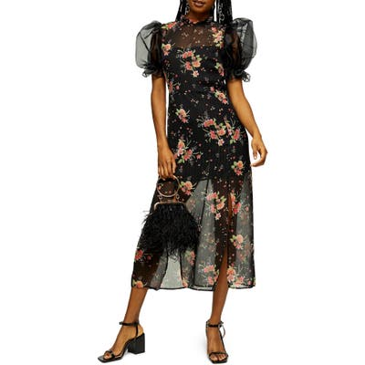 Topshop Floral Organza Midi Dress, US (fits like 10-12) - Black