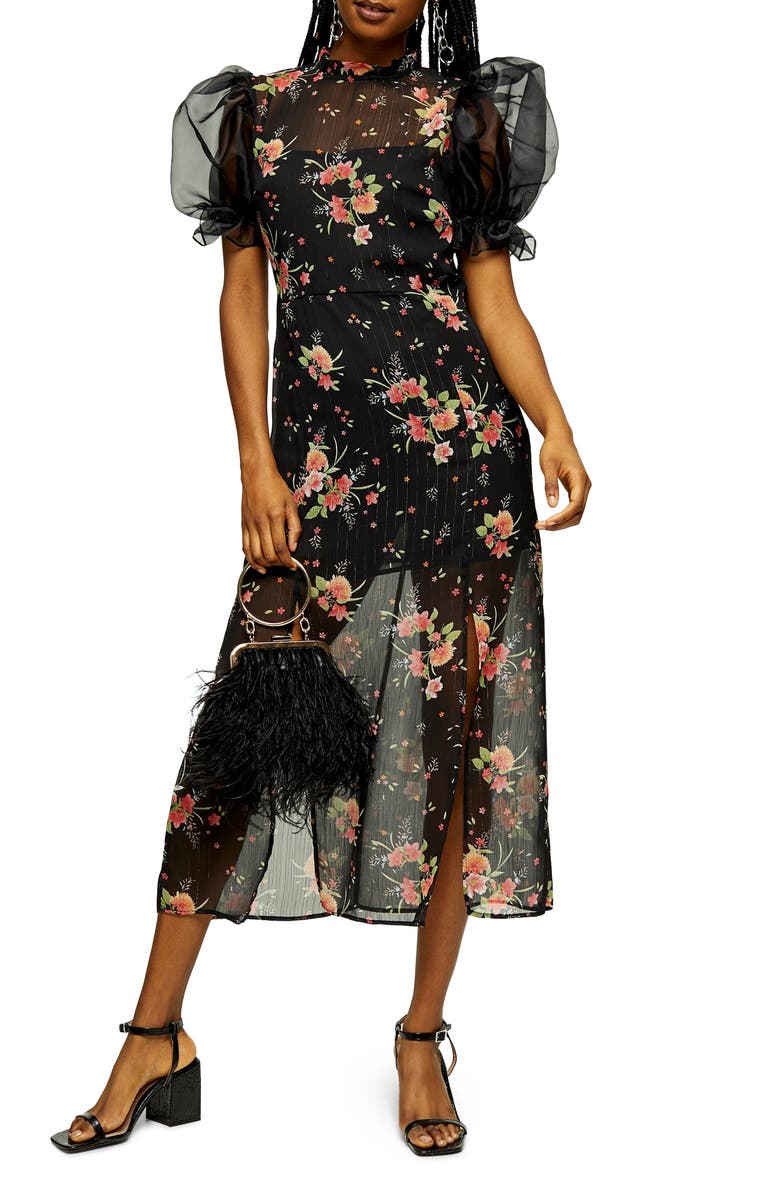 TOPSHOP Floral Organza Midi Dress, Main, color, BLACK MULTI