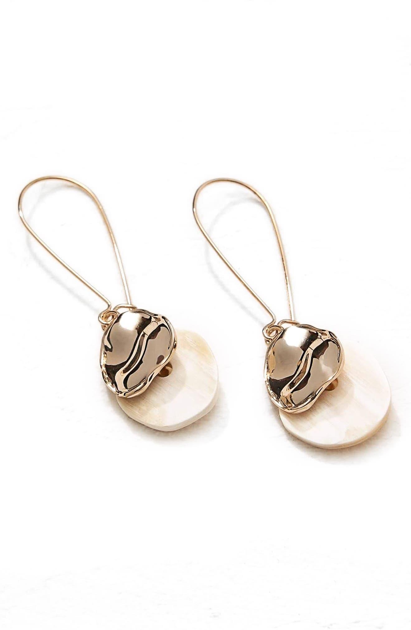 Horn & Metal Drop Earrings