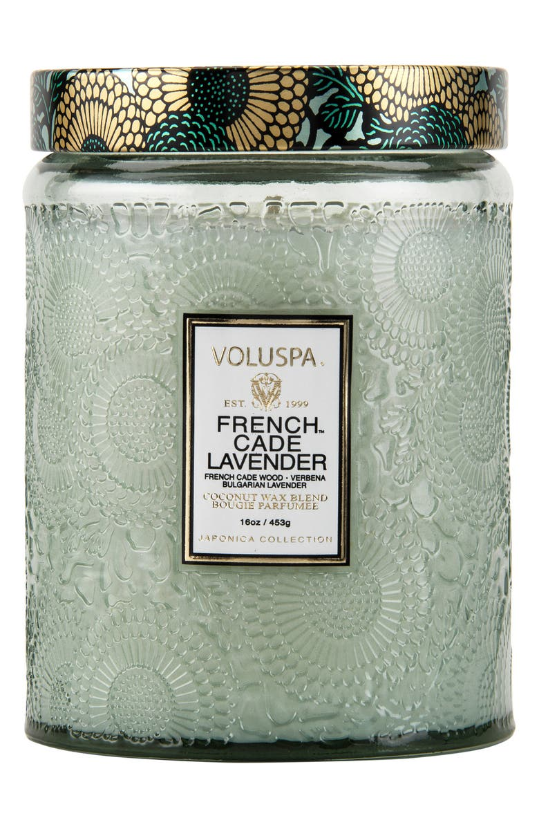 VOLUSPA Japonica French Cade Lavender Large Embossed Glass Jar Candle, Main, color, FRENCH CADE LAVENDER