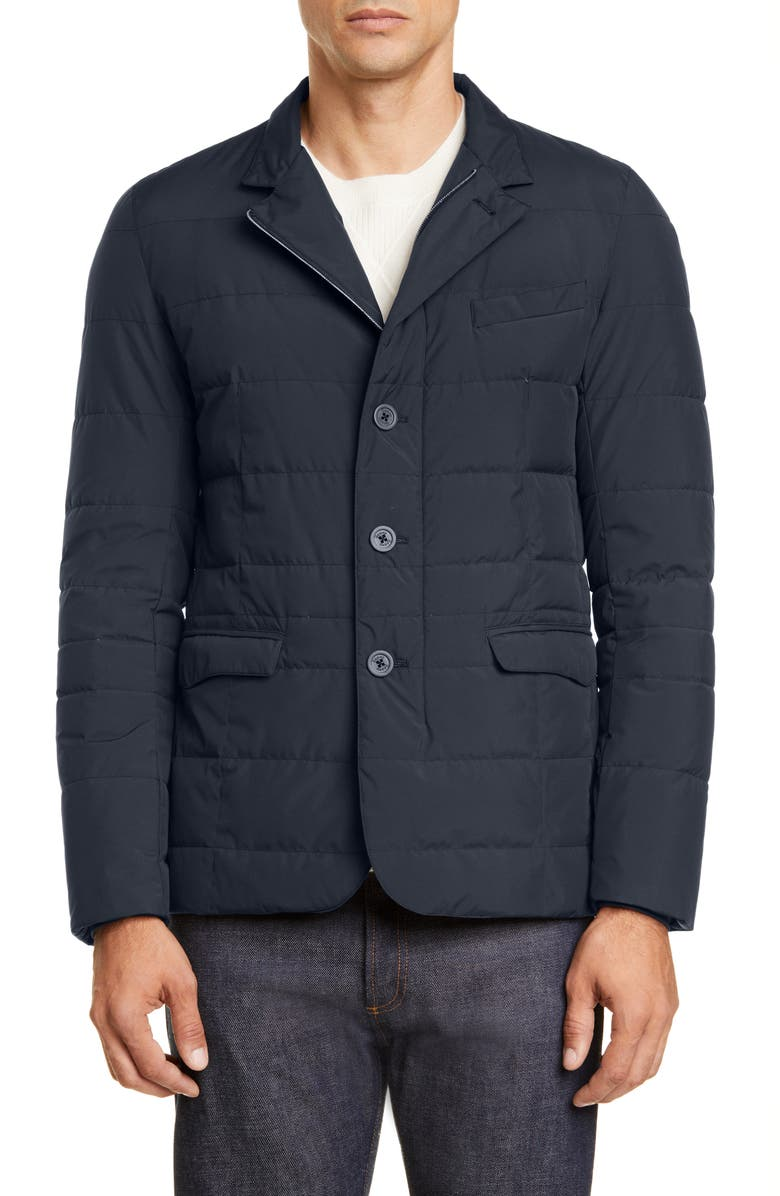 HERNO Windstopper Water Repellent Down Jacket, Main, color, NAVY