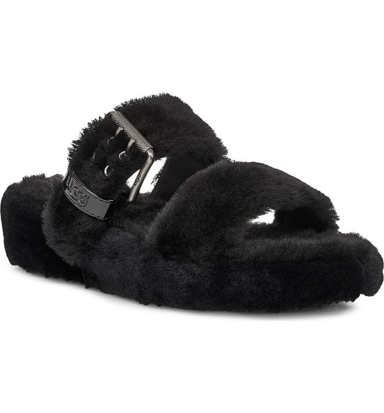 UGG<SUP>®</SUP> Fuzz Yeah Genuine Shearling Slide, Main, color, BLACK