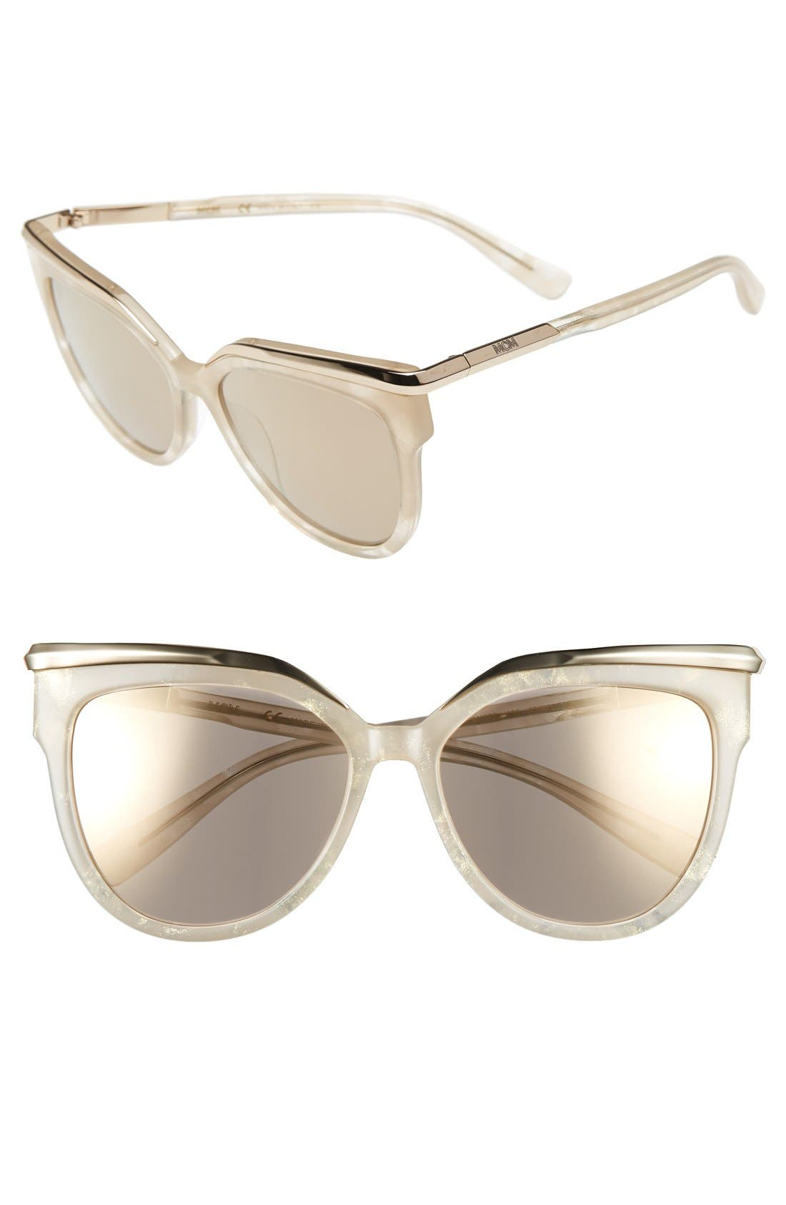 56mm Cat Eye Sunglasses, Main, color, SPARKLY IVORY