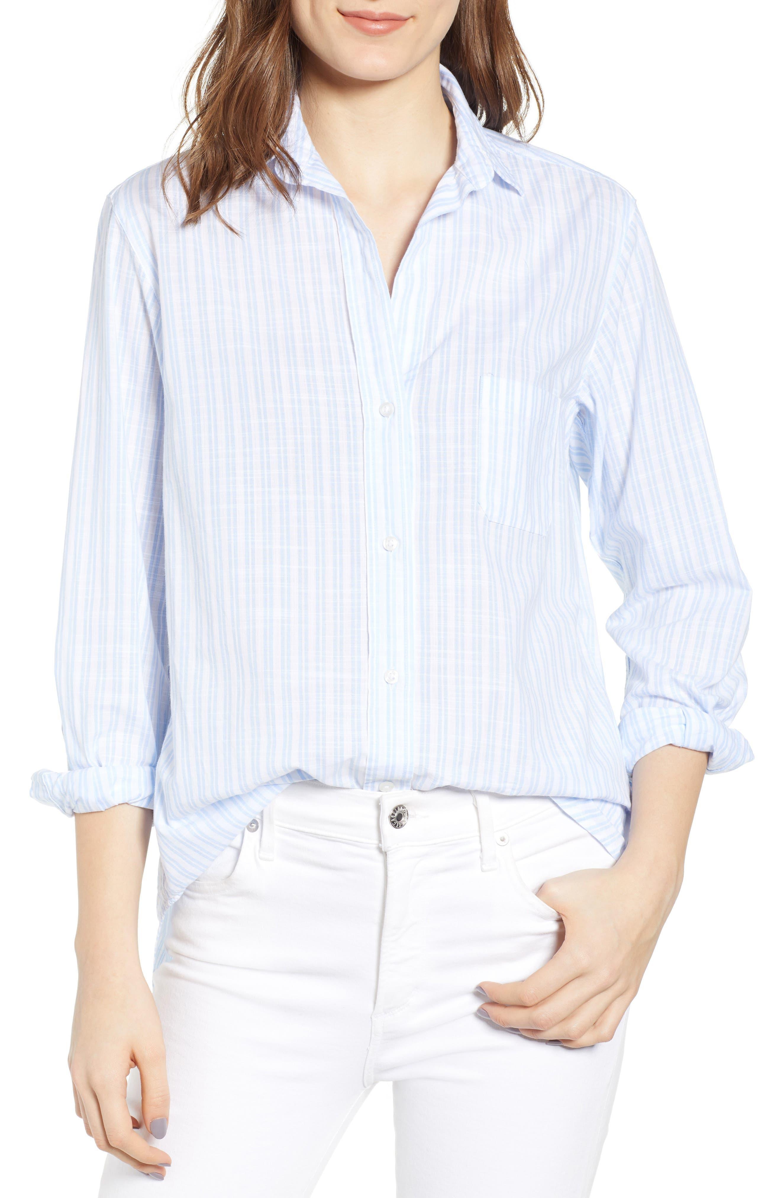 The Hero Washed Cotton Shirt, Main, color, MARGARET BLUE STRIPE