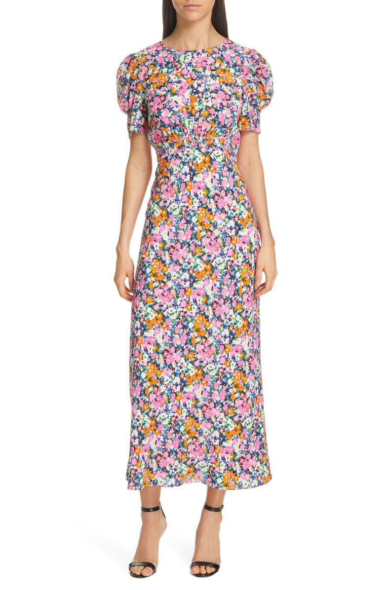 SALONI Bianca Puff Sleeve Silk Midi Dress, Main, color, PINK ROSETTE