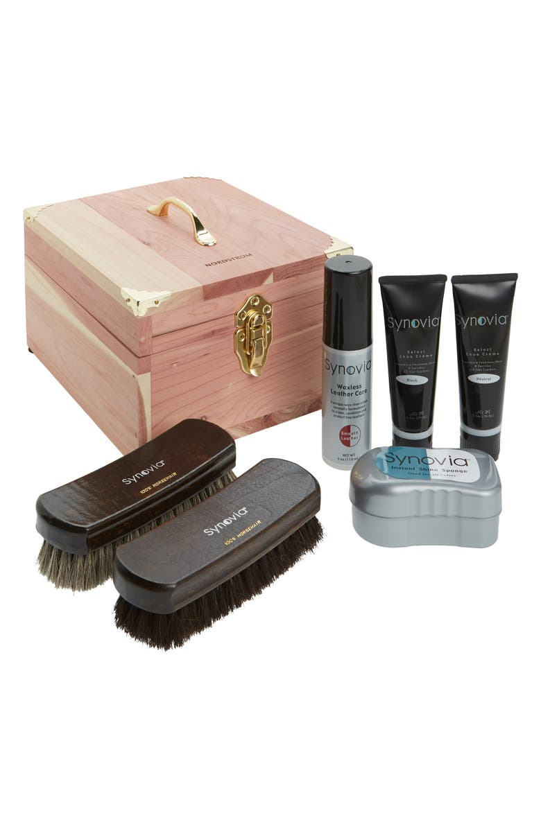 SYNOVIA Shoe Care Kit & Deluxe Cedar Box, Main, color, CEDAR