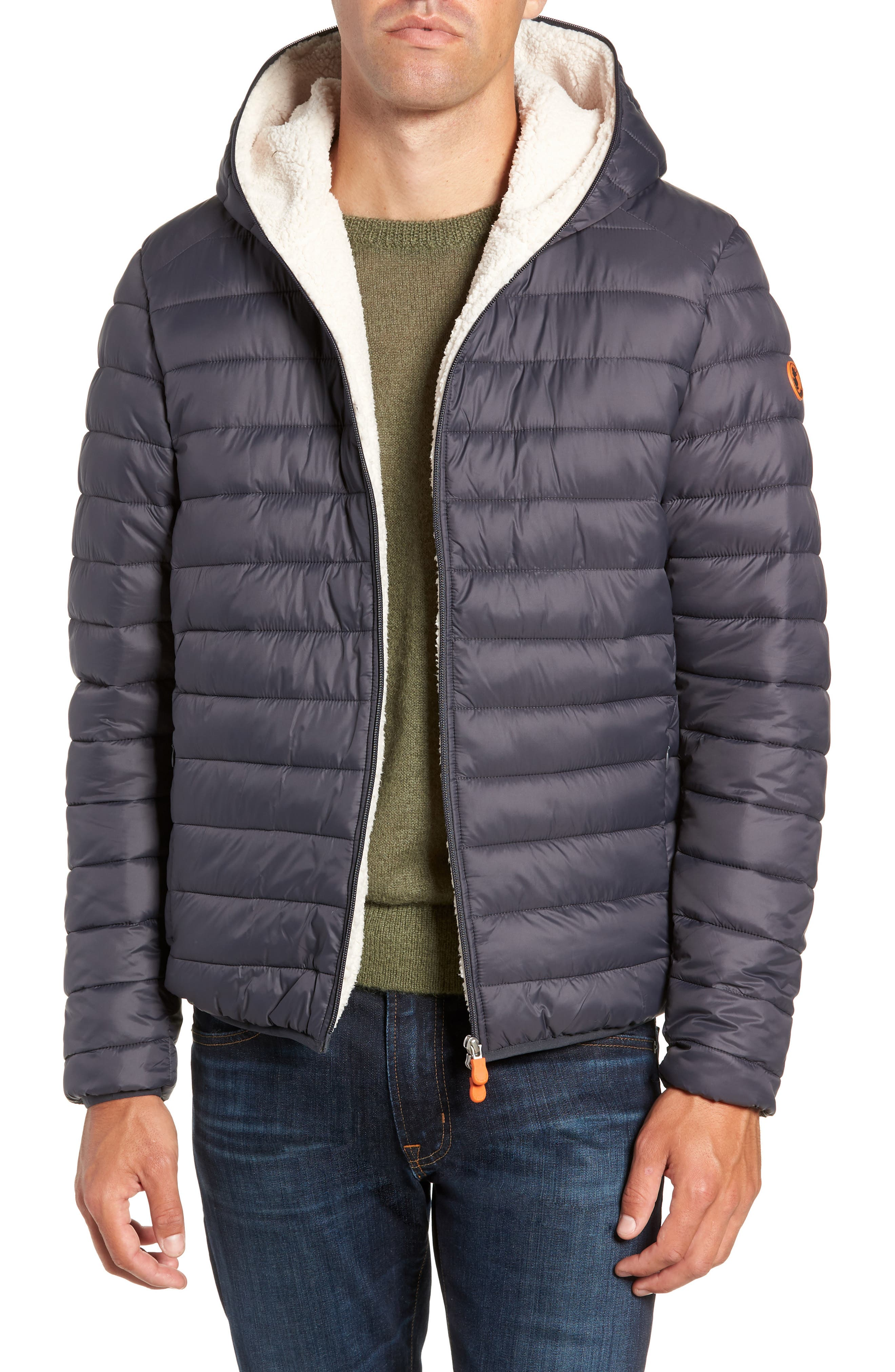 Save The Duck Hooded Plumtech Insulated Packable Jacket, Grey