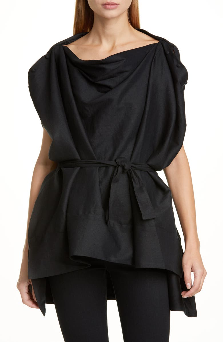 BY ANY OTHER NAME Convertible Linen Blend Blouse, Main, color, BLACK