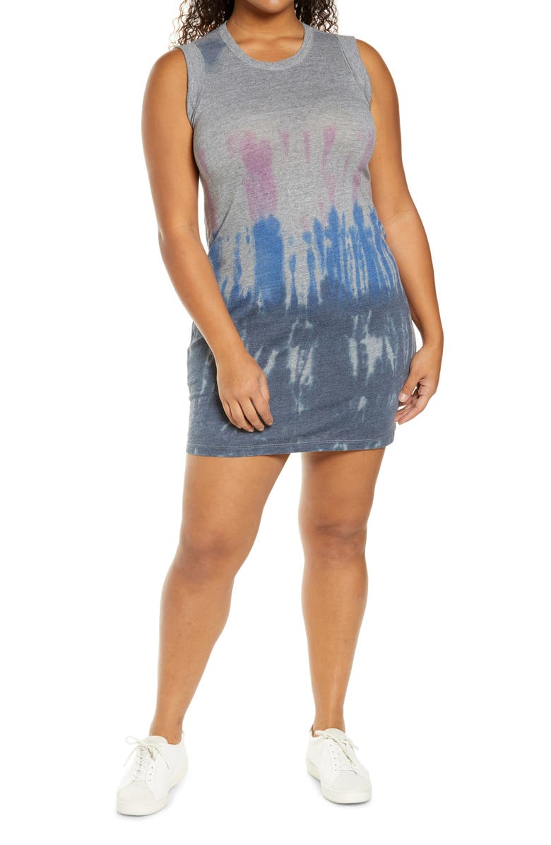 CHASER Jersey Rolled Armhole Minidress, Main, color, ANTIGUA TIE DYE