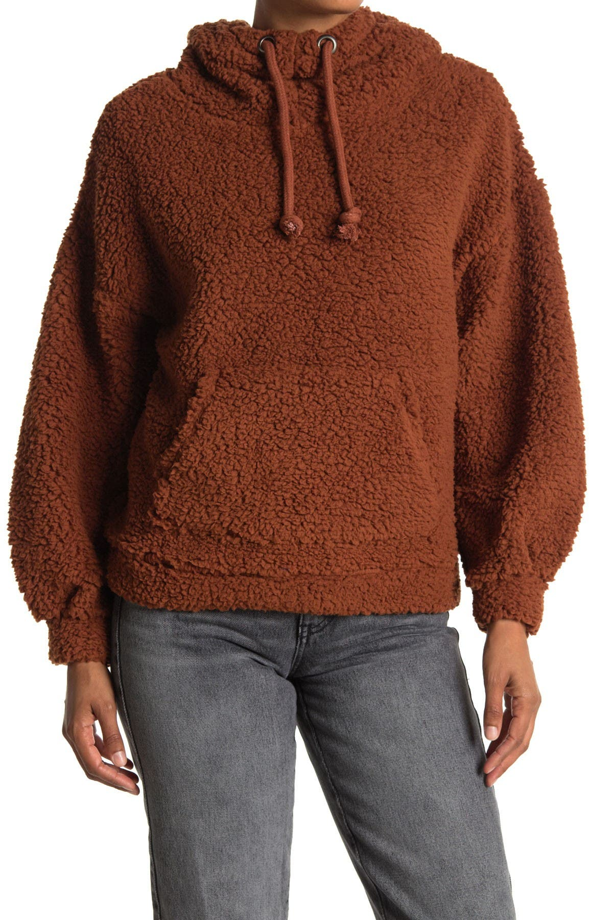Image of Lush Faux Shearling Pullover Hoodie