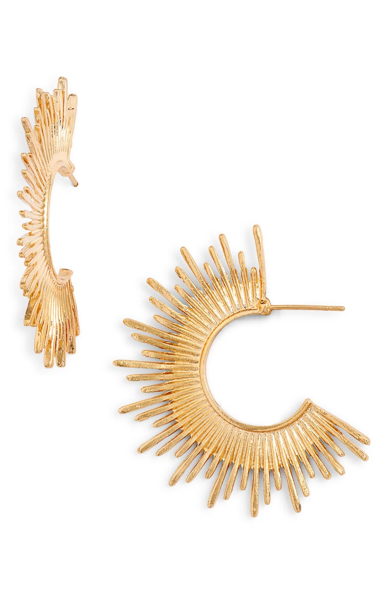BRACHA Blaze Hoop Earrings, Main, color, GOLD