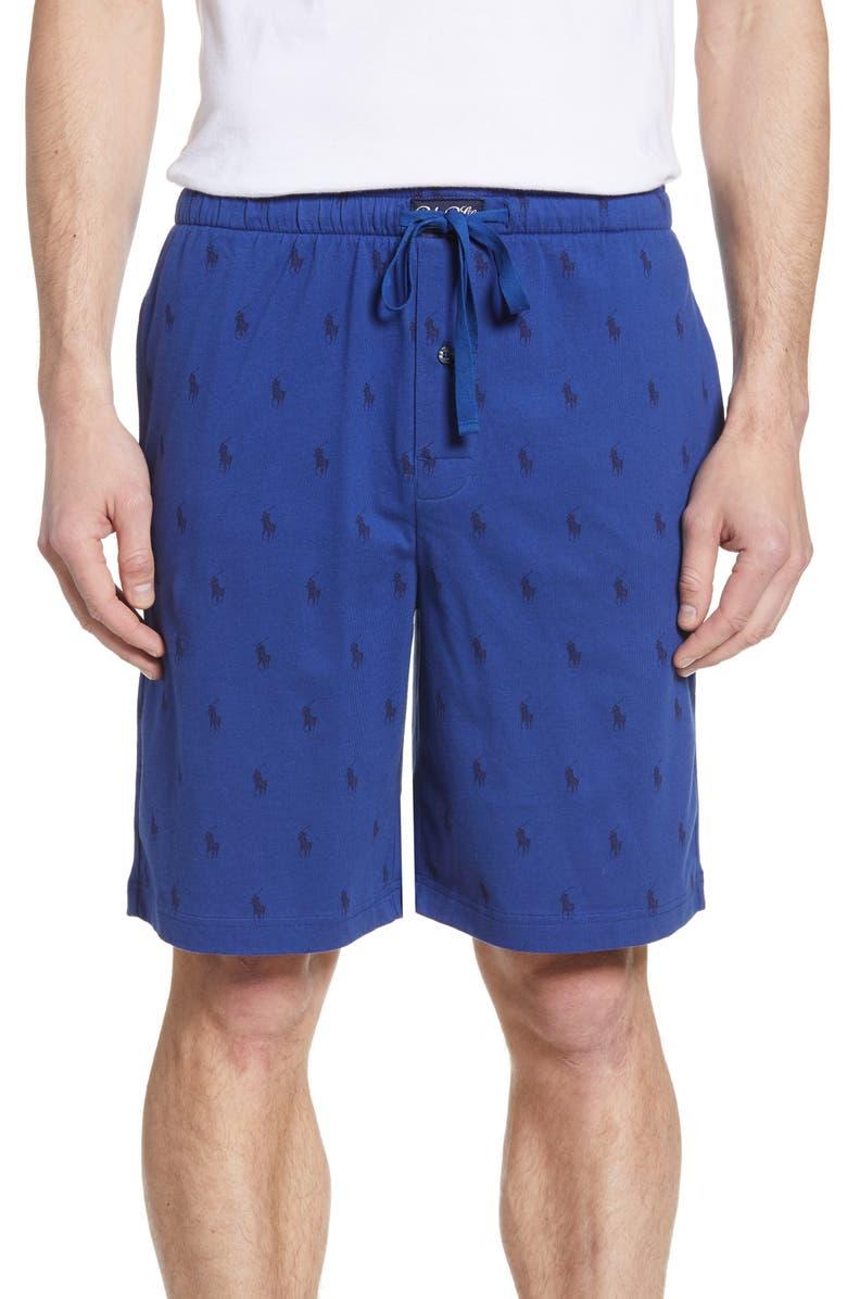 POLO RALPH LAUREN Pony Print Lounge Shorts, Main, color, BLUE