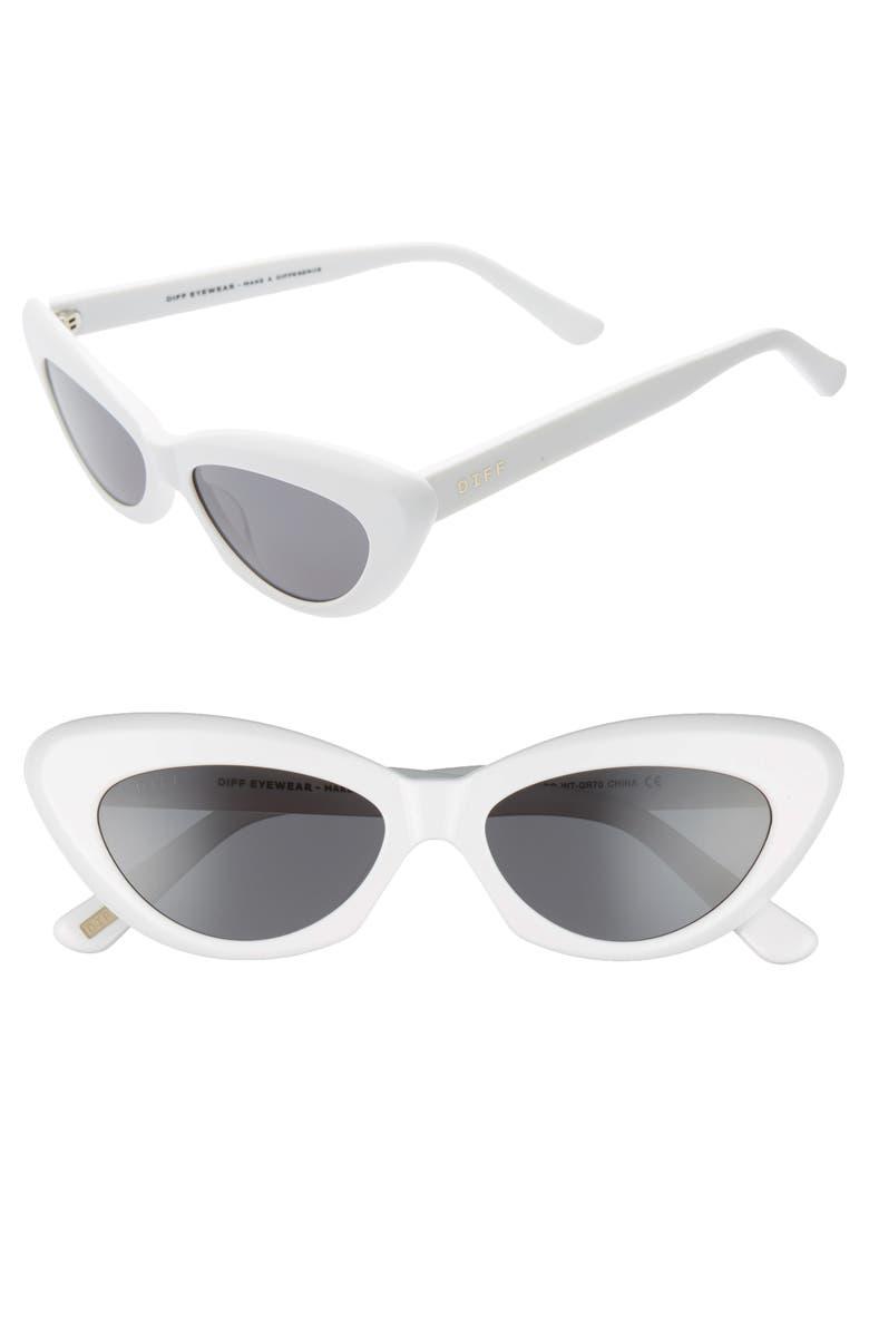 DIFF Cleo 48mm Cat Eye Sunglasses, Main, color, WHITE/ DARK SMOKE