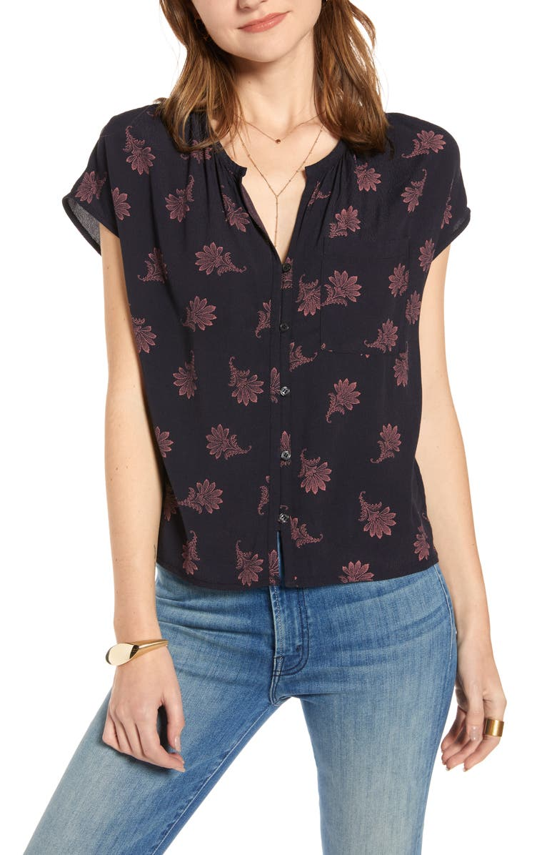TREASURE & BOND Print Front Button Top, Main, color, NAVY NIGHT FLORAL GEO