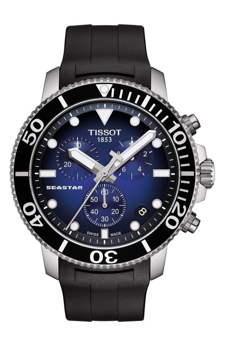 TISSOT T-Sport Seastar 1000 Rubber Strap Chronograph, 45mm, Main, color, BLACK/ BLUE/ SILVER