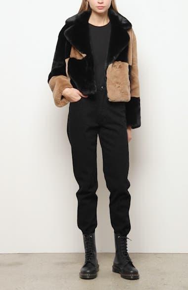 Janet Patchwork Faux Fur Crop Jacket, video thumbnail
