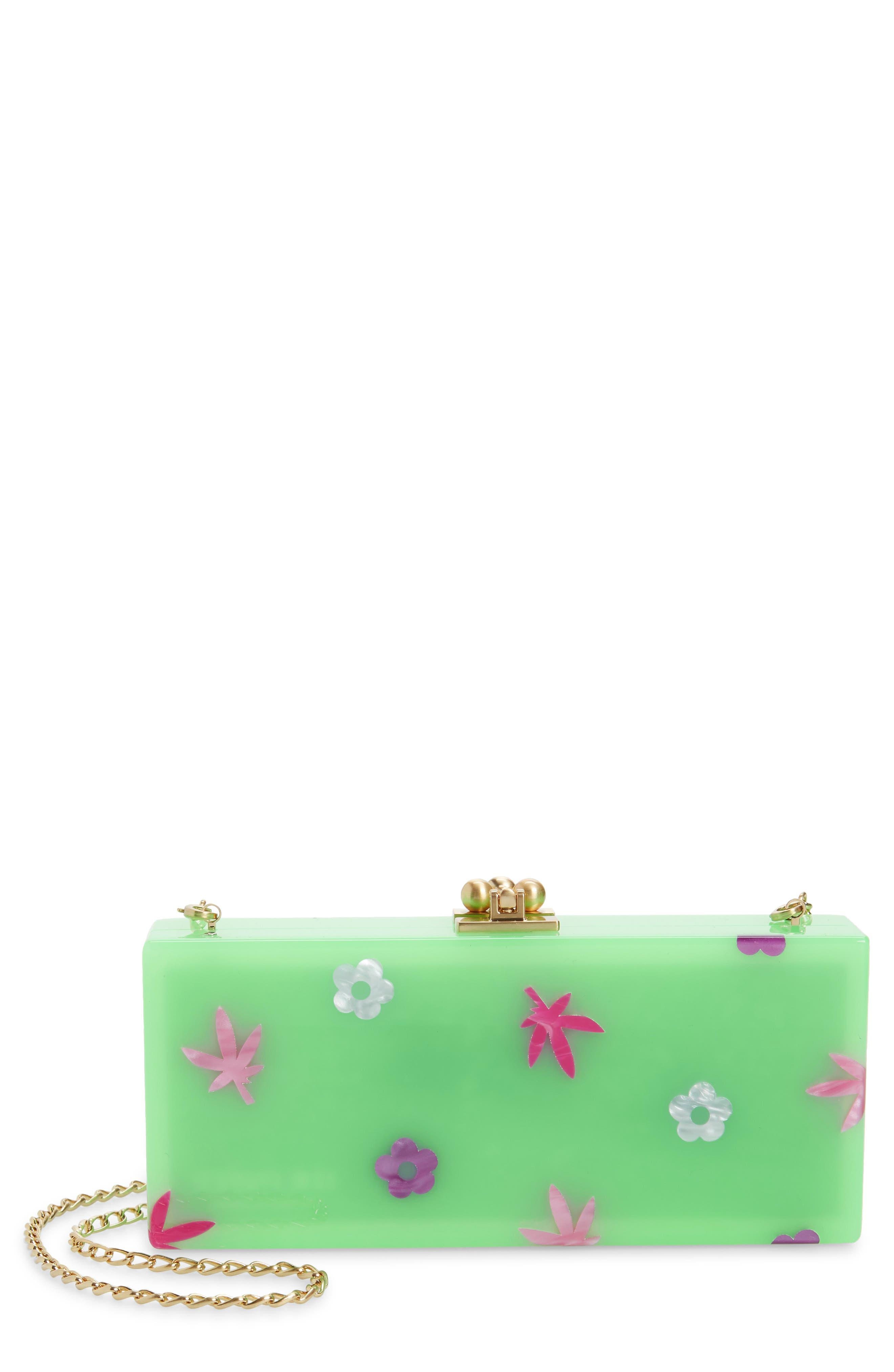 Floral Slim Acrylic Box Clutch