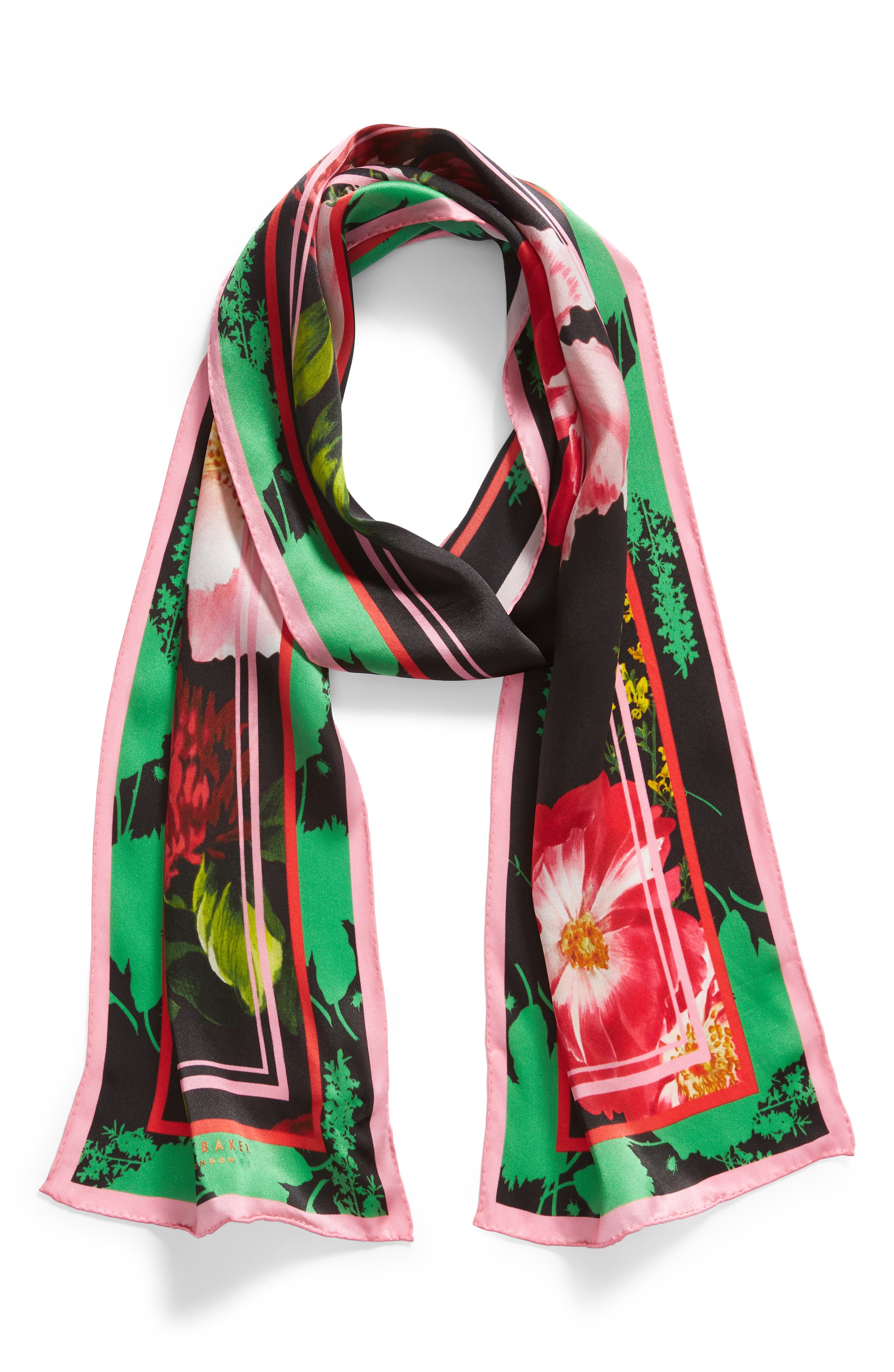 ,                             Berry Sundae Floral Silk Scarf,                             Alternate thumbnail 2, color,                             BLACK