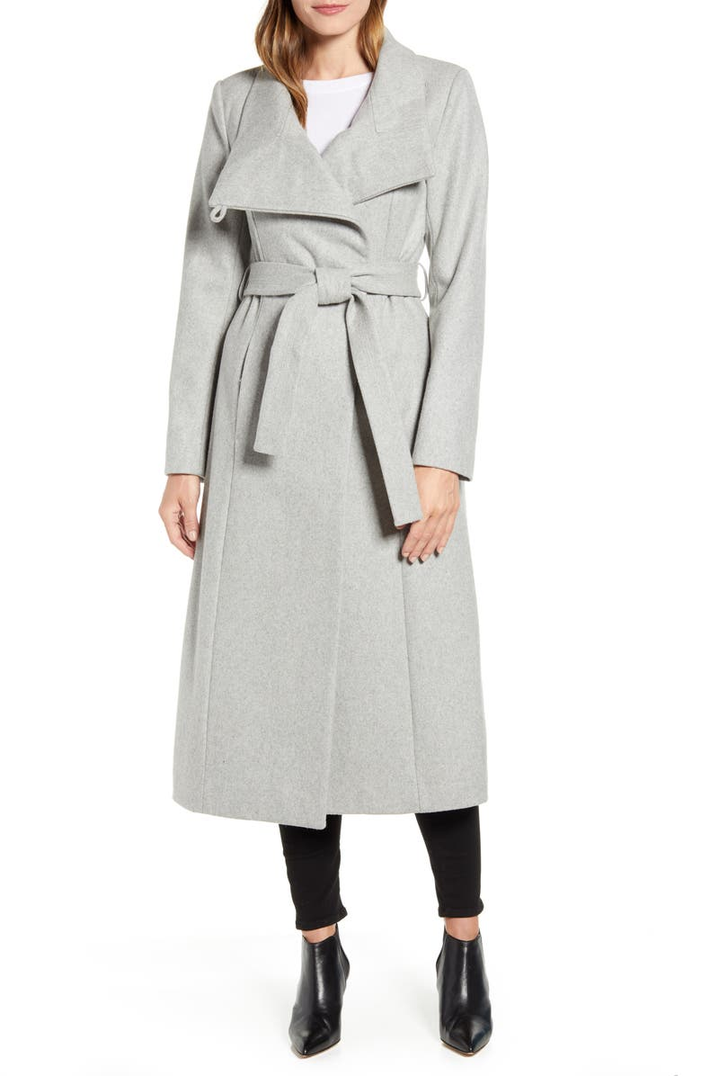 KENNETH COLE NEW YORK Belted Wool Blend Maxi Coat, Main, color, GLACIER