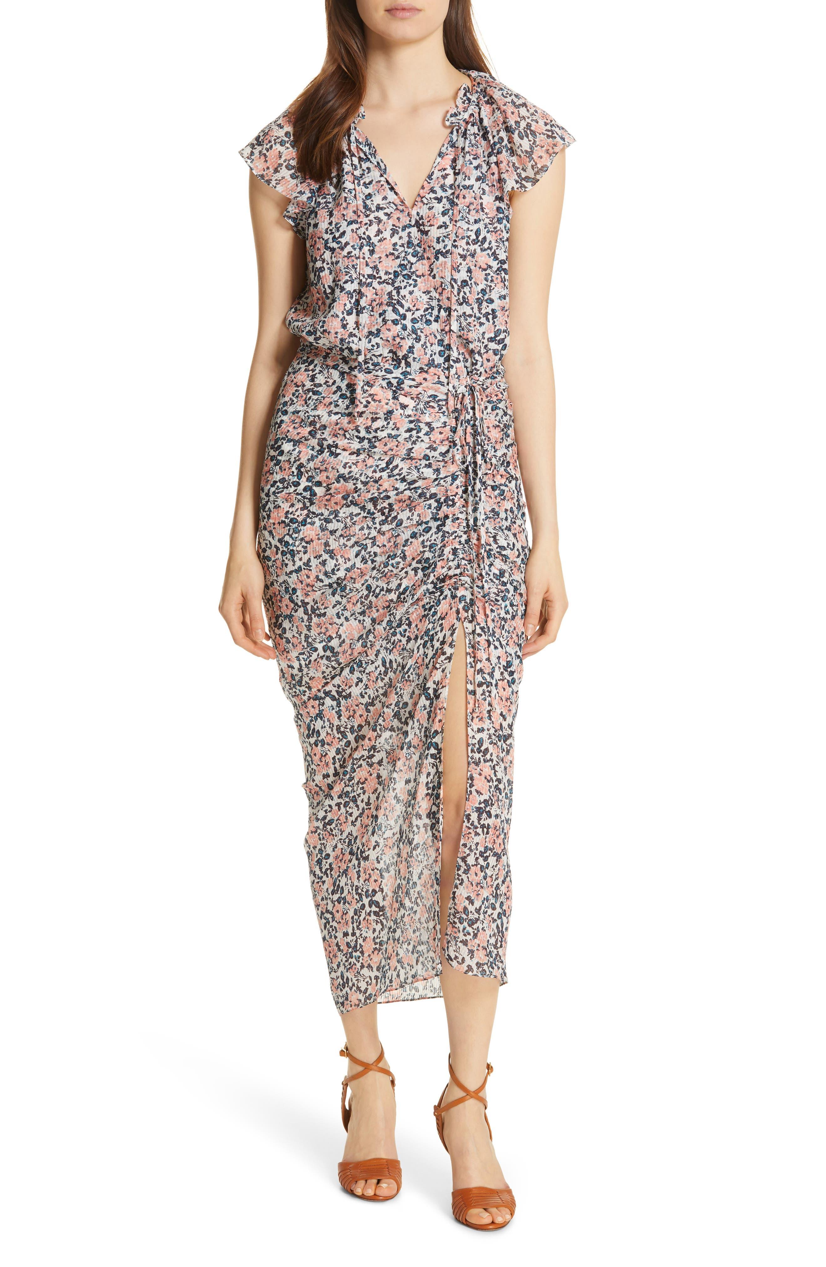 Veronica Beard Brynlee Ruched Silk Dress