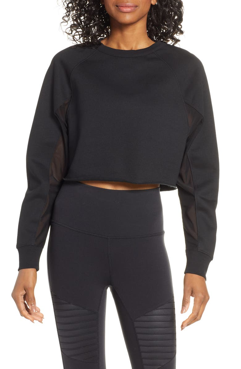 Transcend Cutout Crop Pullover by Alo