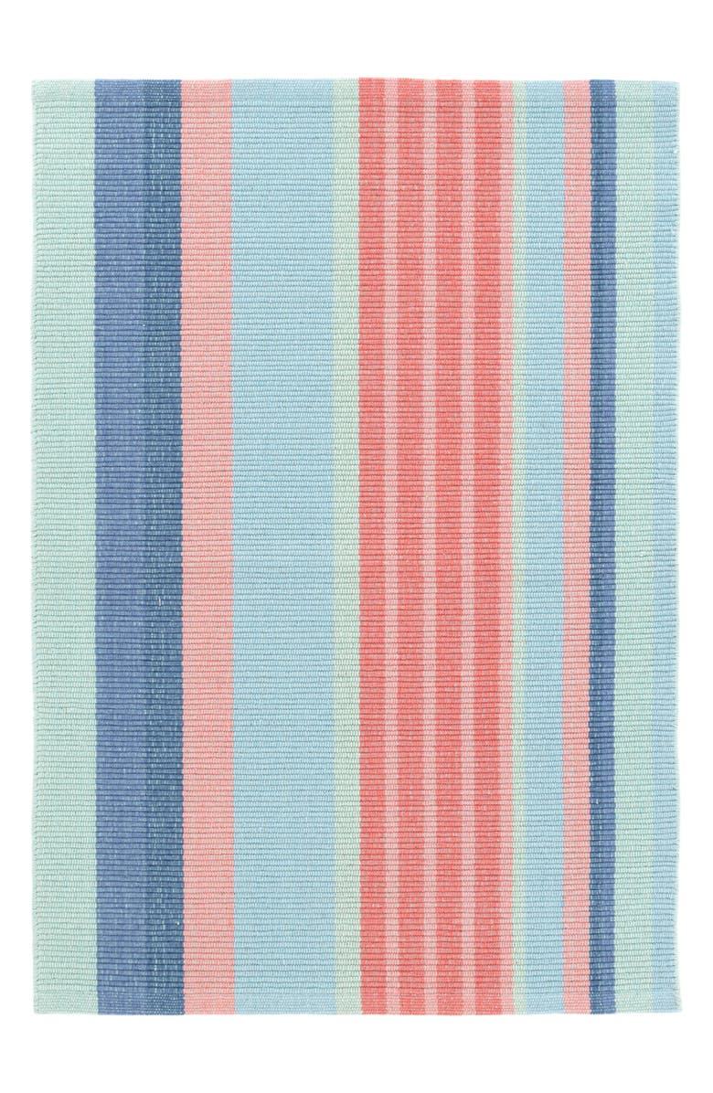 DASH & ALBERT Aruba Stripe Woven Cotton Rug, Main, color, BLUE