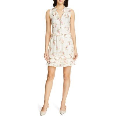 Rebecca Taylor Ivie Floral Ruffle Silk Blend Dress, Ivory