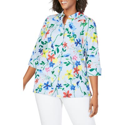 Plus Size Foxcroft Libby In Floral Stripe Shirt, Blue
