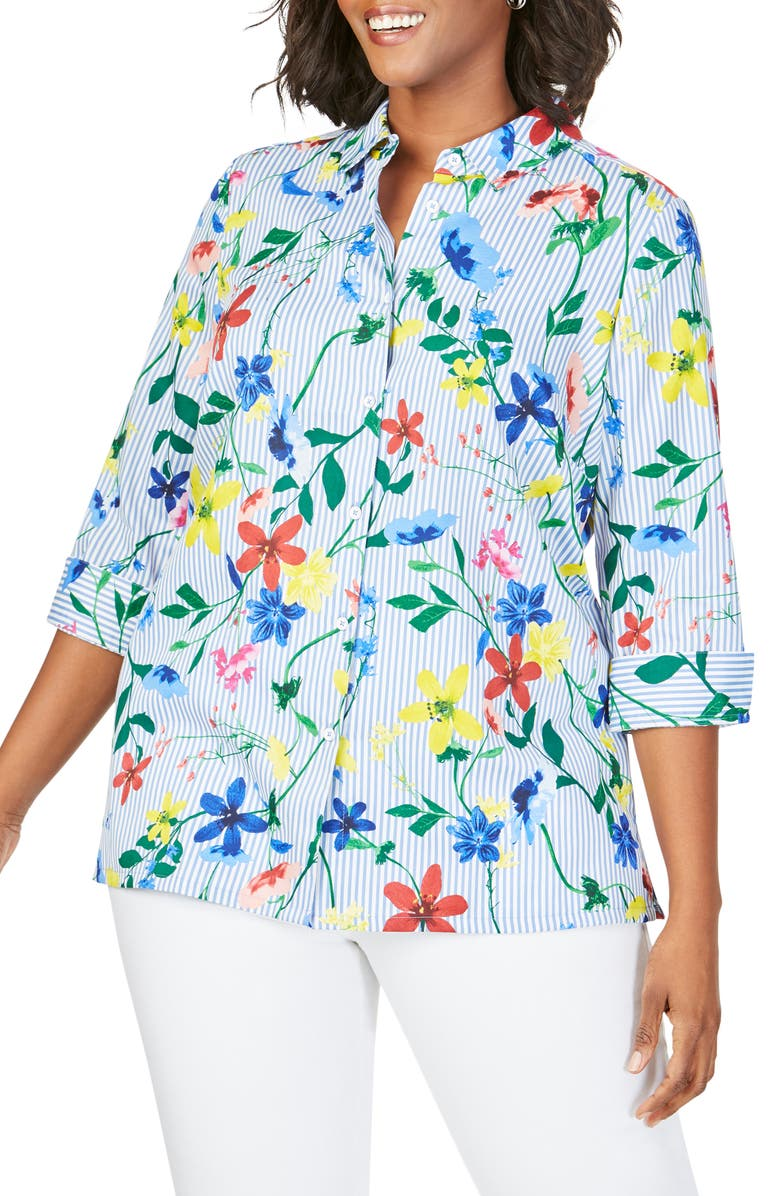FOXCROFT Libby in Floral Stripe Shirt, Main, color, MULTI