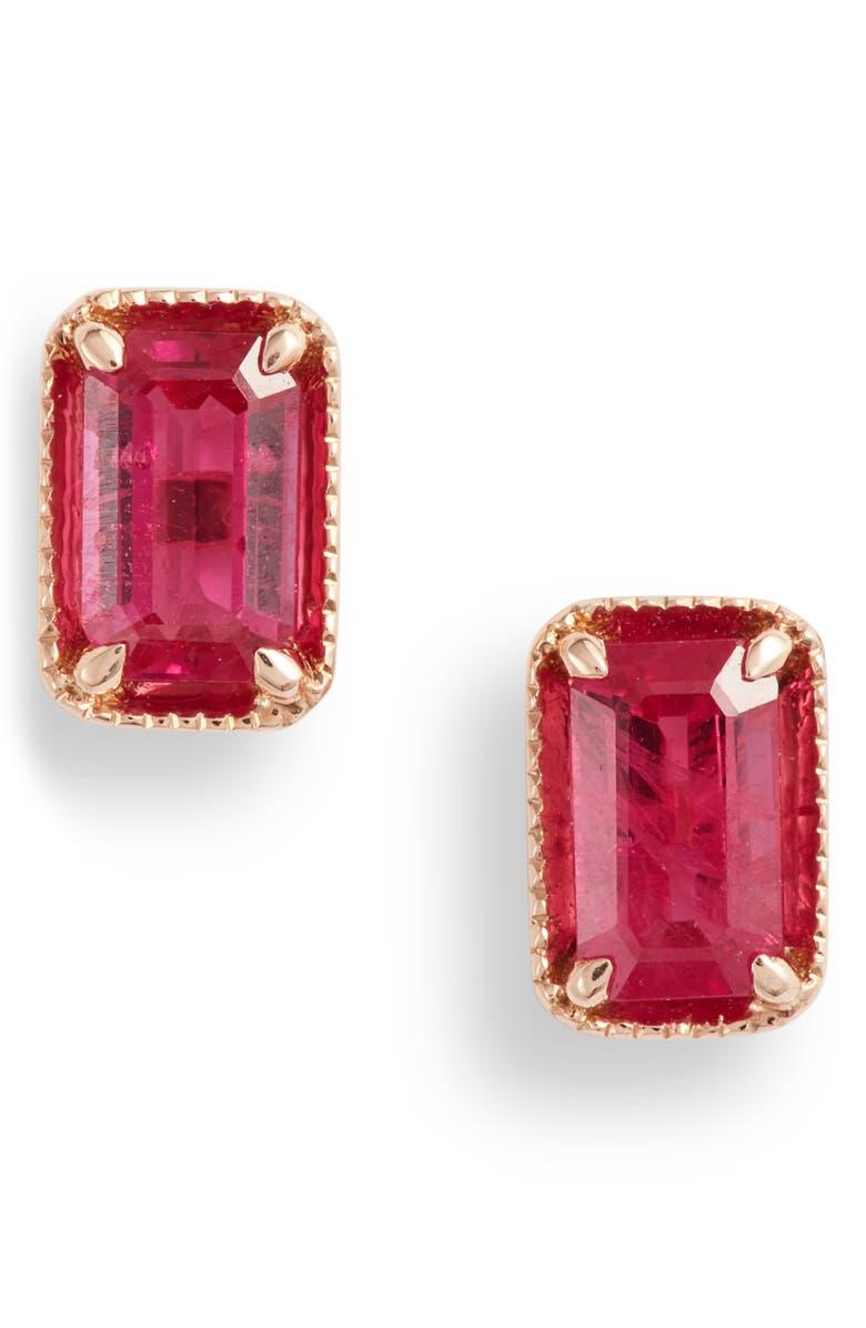 BONY LEVY El Mar Ruby Stud Earrings, Main, color, ROSE GOLD/ RUBY