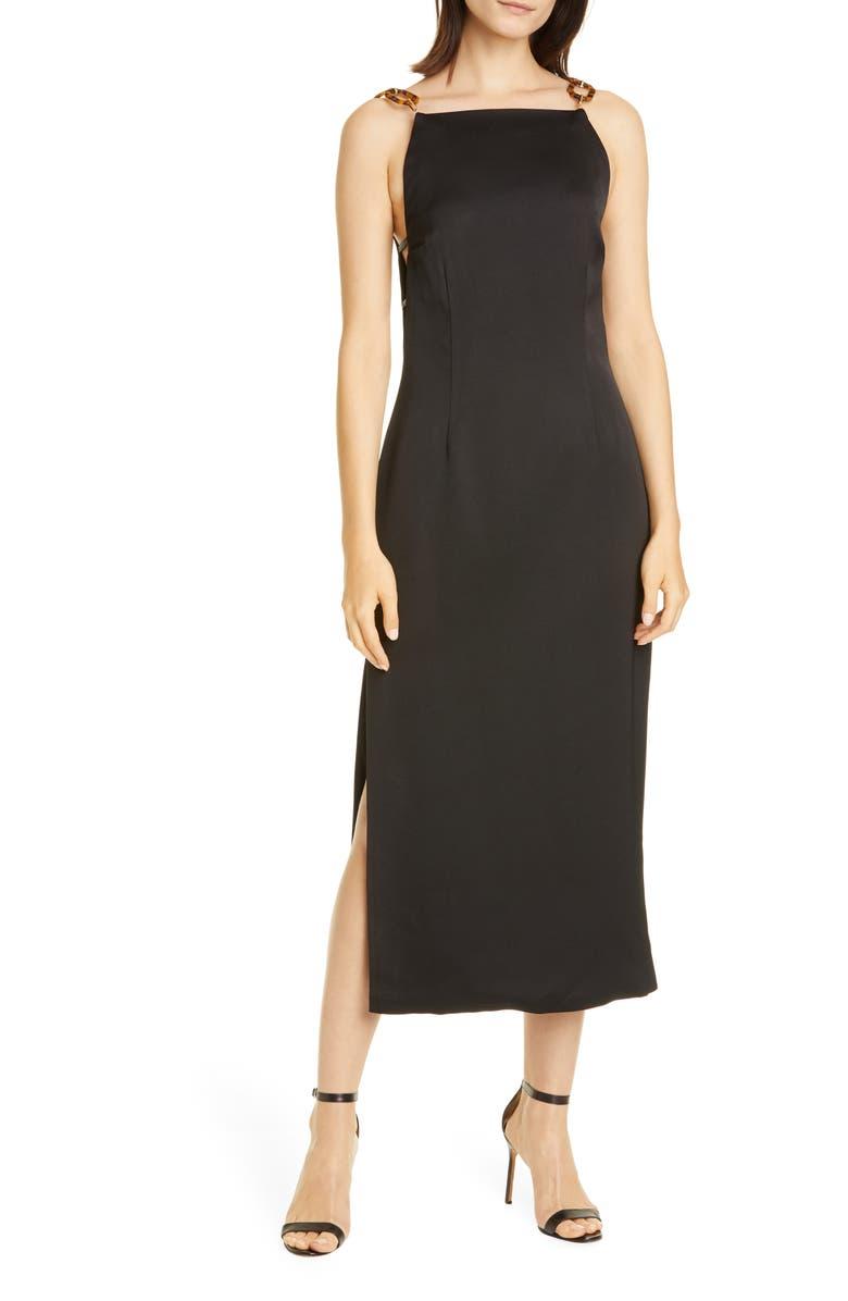 CULT GAIA Mina Crepe Back Satin Midi Dress, Main, color, BLACK