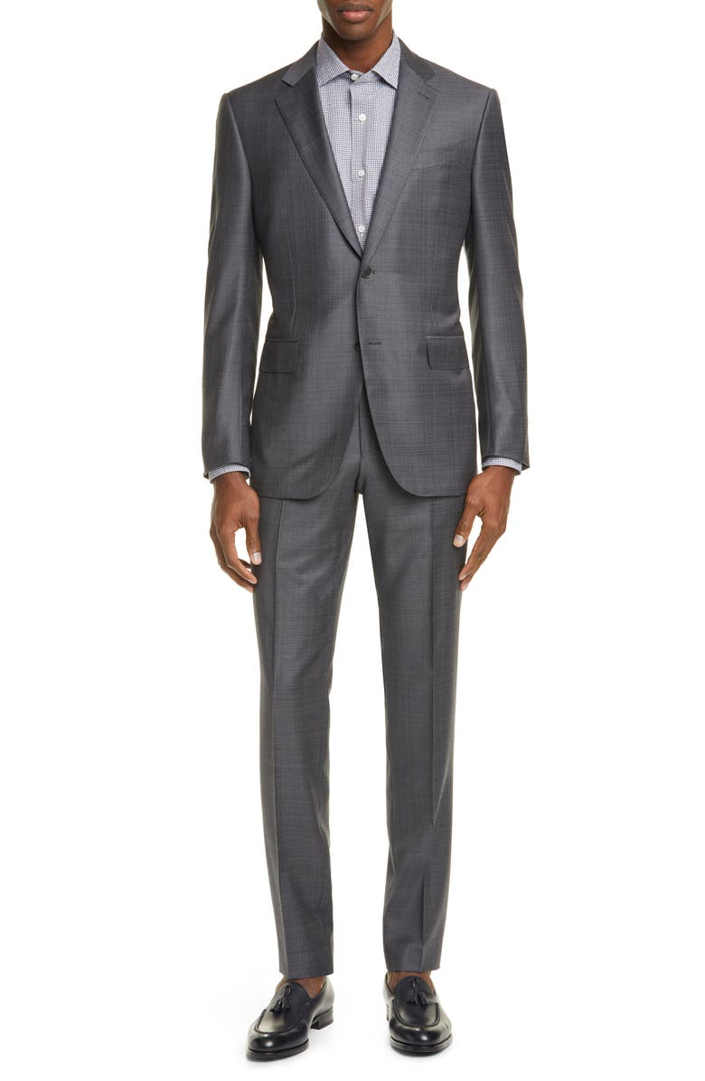 ERMENEGILDO ZEGNA Milano Trofeo Classic Fit Check Wool Suit, Main, color, GREY