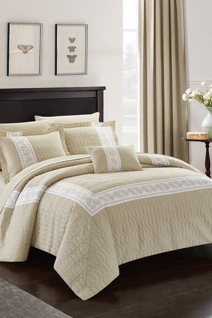 Image of Chic Home Bedding Queen Keegan Hexagon Embossed Hotel Collection Bed in a Bag - Taupe