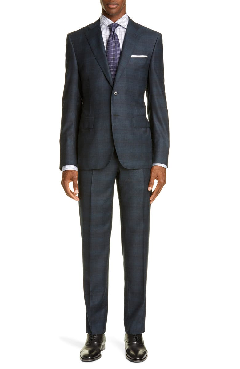 CANALI Sienna Classic Fit Shadow Plaid Wool Suit, Main, color, GREEN