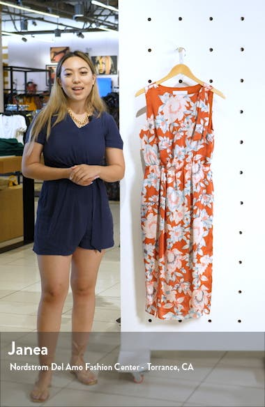 Floral Print Front Slit Dress, sales video thumbnail