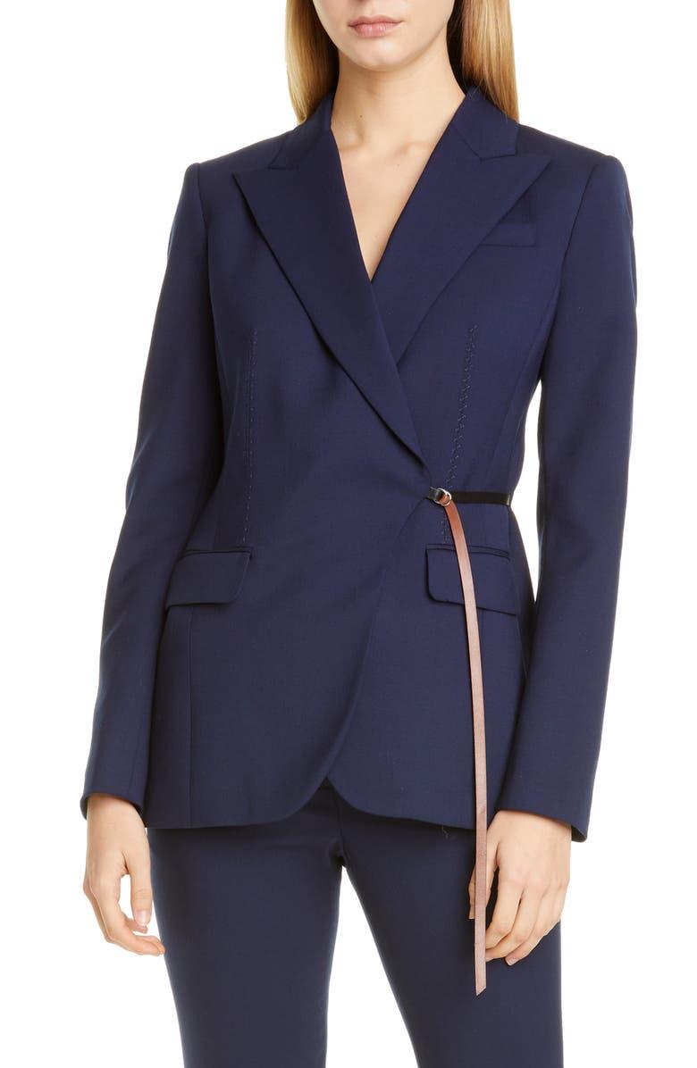 ALTUZARRA Leather Waist Detail Wool Jacket, Main, color, 000406 BERRY BLUE