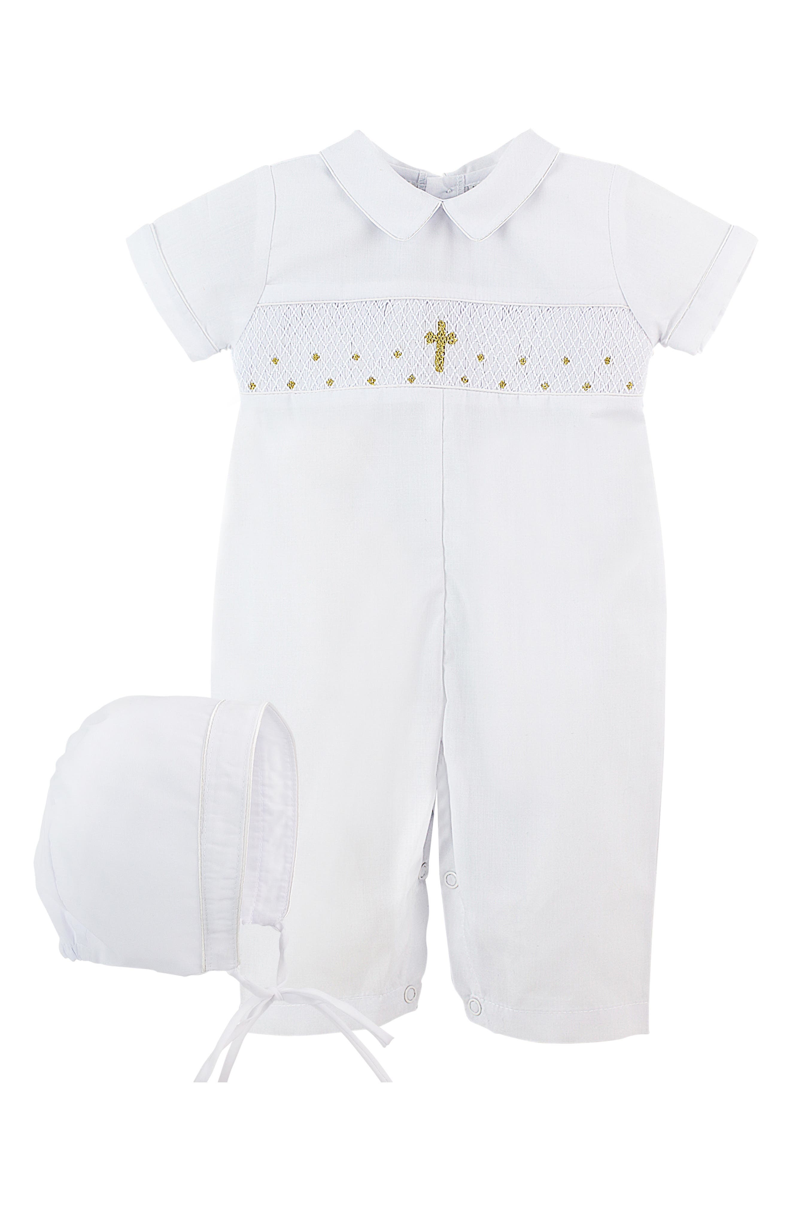Cross Detail Carriage Boutique Baby Boys Christening Outfit with Bonnet Hat