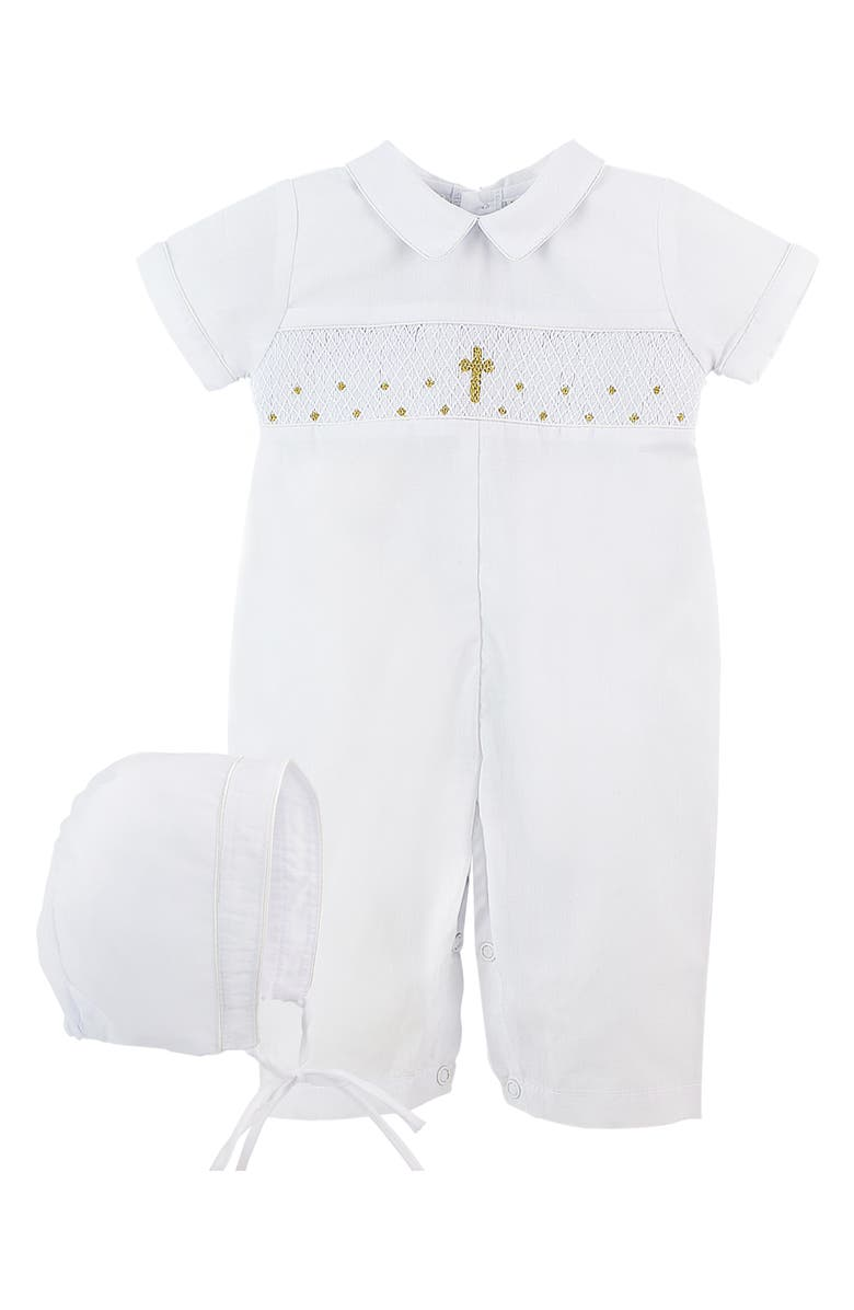 CARRIAGE BOUTIQUE Christening Romper & Bonnet Set, Main, color, 100