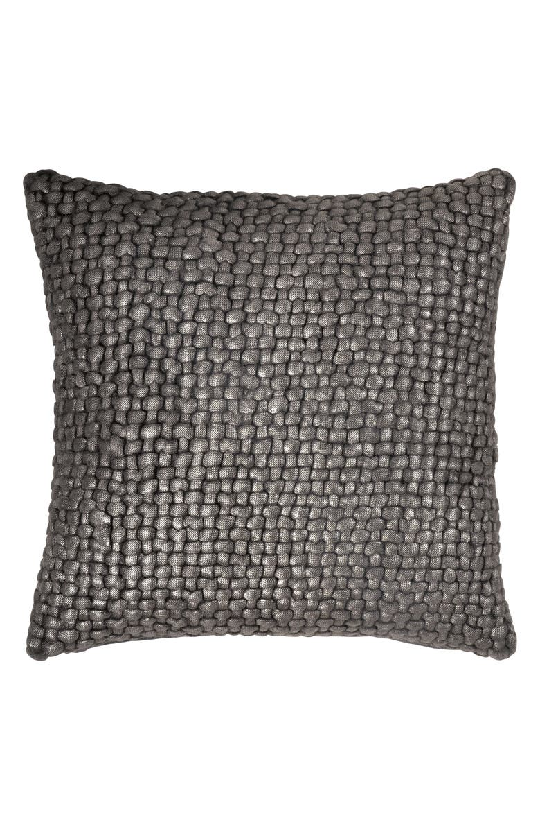 MICHAEL ARAM Metallic Basket Weave Accent Pillow, Main, color, CHARCOAL