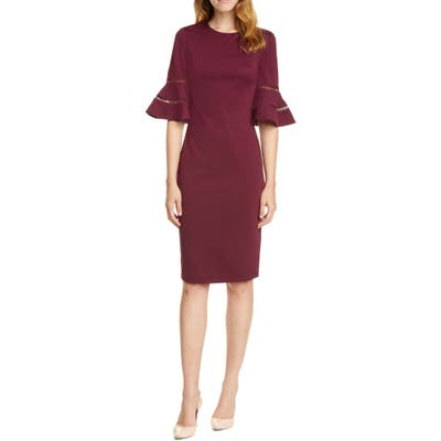 Ted Baker London Filnio Bell Sleeve Body-Con Dress, Red