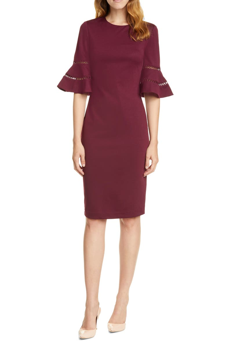TED BAKER LONDON Filnio Bell Sleeve Body-Con Dress, Main, color, OXBLOOD