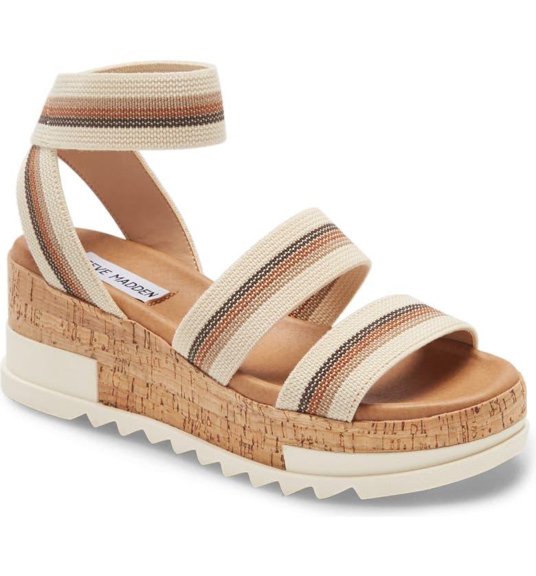 STEVE MADDEN Bandi Platform Wedge Sandal, Main, color, BEIGE MULTI