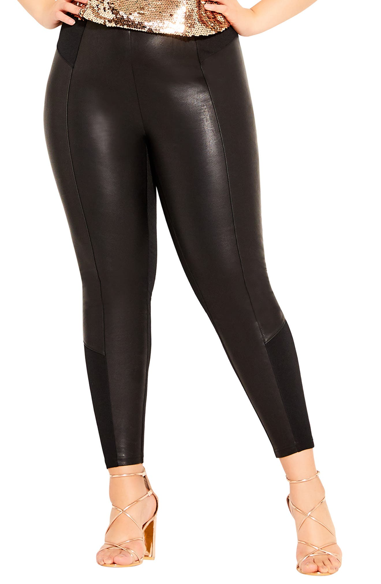 Good Vibes Faux Leather Leggings