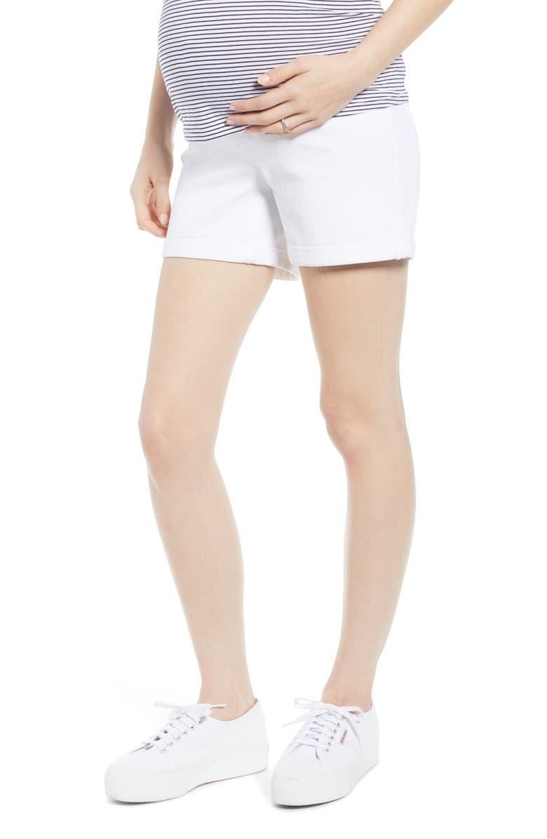 1822 DENIM Rolled Hem Maternity Shorts, Main, color, WHITE