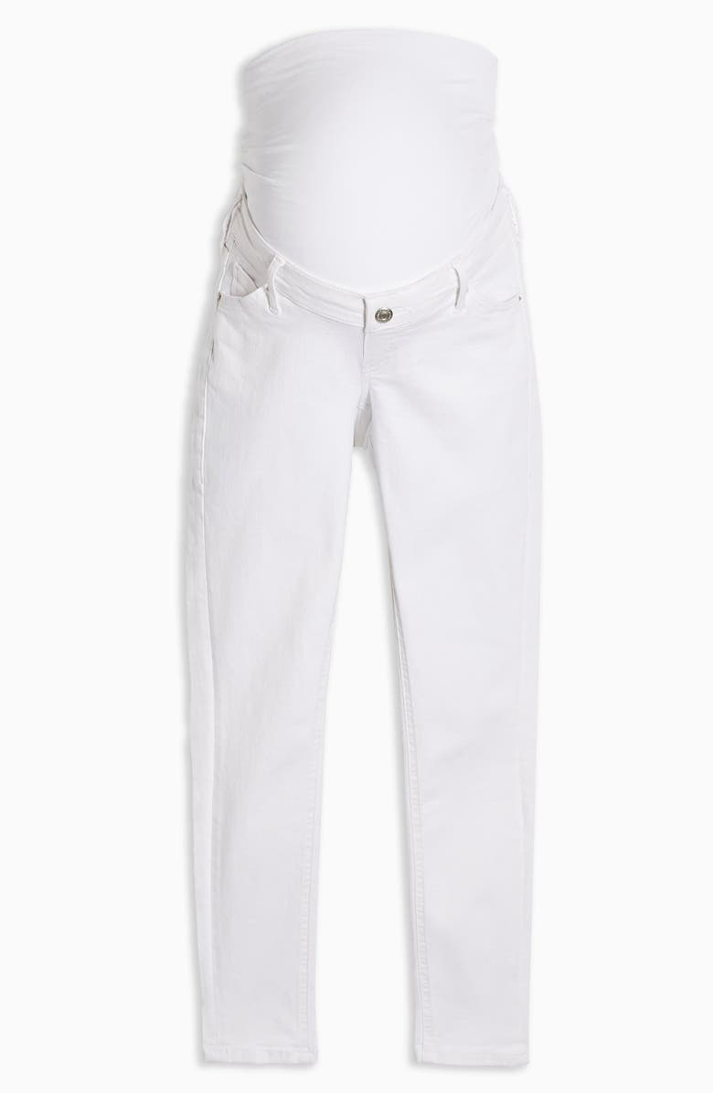 TOPSHOP Jamie Over the Bump Maternity Jeans, Main, color, WHITE