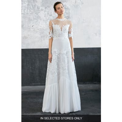 Inmaculada Garcia Jalapa Embroidered Tulle & Chiffon A-Line Gown, Size IN STORE ONLY - Ivory